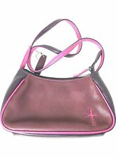 Rolfs Leather Purse Spiritual Christian Cross Maroon Shoulder Bag