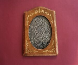 Vintage Brown Leather Oval Photo Frame with Glass Hand Made Antique 1940s
