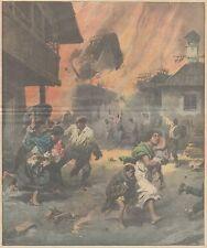 K0147 Dolomiti - Pecol - Abitanti fuggono da incendio - Stampa - 1931 Old print