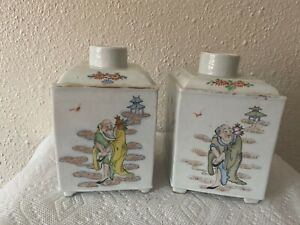 Two Antique Chinese Porcelain Famille Rose Decorated Tea Caddies