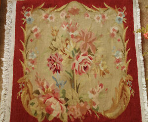 1.375' AUBUSSON CANVAS Square OLD VINTAGE ANTIQUE Roses Red TAPESTRY