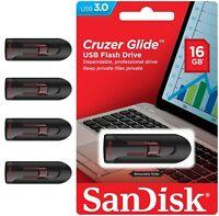Sandisk Cruzer Glide 16GB USB 3.0 Thumb Memory Stick Lot 4 Flash Drive Wholesale