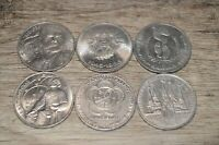 Vintage Soviet USSR Russia 1 Rouble Coin Lot Cold War Lenin Space Tolstoi 1980s