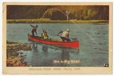 "Greetings from Jones Falls Ontario Canada IT""S A BIG ONE Vintage Postcard"