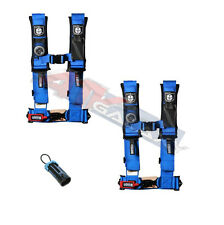 """PRO ARMOR 4 POINT 2"""" HARNESS SEAT BELTS PADDED PAIR BLUE W/ BYPASS RZR XP TURBO"""