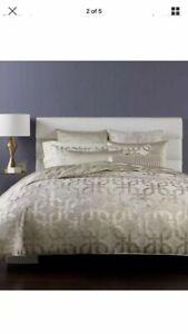 Hotel Collection Fresco KING Duvet Cover Gold Woven Jacquard Geometric