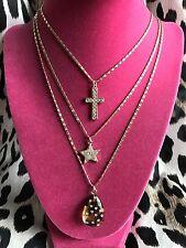 Betsey Johnson Vintage Leopard Lucite Tear Drop Gold Cross Star Crystal Necklace