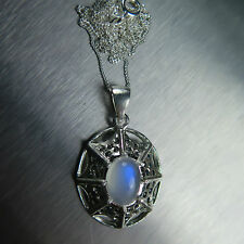 2.20ct Natural Rainbow Moonstone &sapphires Sterling 925 Silver pendant necklace