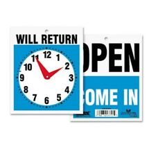 headline sign 9382 double-sided open/will return sign w/clock hands, plastic, 7