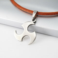 Silver Japanese Ninja Weapon Stainless Steel Pendant Mens Brown Leather Necklace
