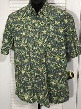 Burma Bibas Cotton Lawn Camp Shirt Men's M Short Sleeve Blue & Green Floral