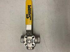 "Sharpe 1"" Stainless Steel 3-Way Ball Valve L-Type"