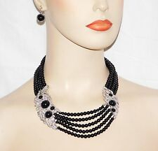 Necklace & Earring Set W. Black Onyx Pearl and Silver Clear Rhinestones