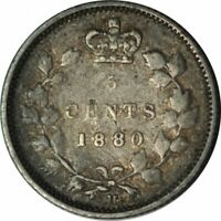 1880-H Canada 5 Cents Silver- Very Nice Circ Collector Coin! - d762sut2