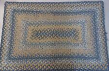 "Rectangular Vintage Braided Rug Blue Yellow 35""x24"""