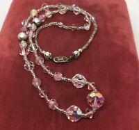 "Vintage Necklace 20"" Rhinestone Pink"
