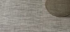 """Chilewich Basketweave Woven Vinyl Floor Mat 72"""" X 106.5"""" Oyster Colorway"""