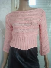 ORIGINAL TOP TRICOT DENTELLE ROSE MANCHES 3/4 T S/M OU 14/16 ANS NEUF
