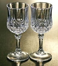 2 ANTIQUE RUSSIAN VODKA CLEAR THICK FACETED EDGED CRYSTAL SHOT GLASSES ЛАФИТНИК