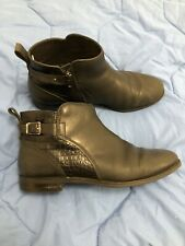 GENUINE UGG DEMI CROC BLACK LEATHER ANKLE BOOTS US 9 UK 7 7.5 6.5 SHEEPSKIN SOLE