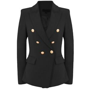 Designer Inspired Attentif Double Breasted Hopsack Tailored Blazer in Camel