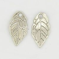 50pcs DIY Making Antique Silver Leaf Tibetan Style Alloy Pendants Jewelry Charm