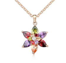 18K Rose Gold Plated Made with Swarovski Elements Mutlicol Star Flower Necklace