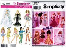 "Simplicity 4719 & 8157 Barbie 11 1/2"" Doll Outfits Dress Pattern s Vintage Uncut"