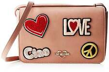 NEWT 100% AUTH LOVE MOSCHINO PINK ECO LEATHER W EMBROIDERY W STRAP  BAG PURSE