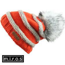 femmes Long Bonnet Käthe orange blanc artisanal bonnet D'HIVER de M. I. r.o.s