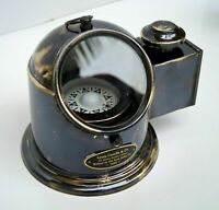 Antique brass binnacle gimbal compass with oil lamp nautical ship helmet gift