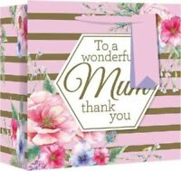 Mothers Day Gift Bags Stripe floral Plant  Birthday Mum Adult Female Present Gif