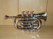 DIRECTOR BAND APPROVED SILVER FINISH Bb POCKET TRUMPET+W/CASE+MOUTHPIECE