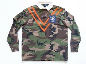 POLO RALPH LAUREN Rugby Shirt Size Large Men RLFC Camo Skull Bones Long Sleeve