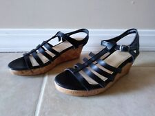 So Brand Black Strappy Wedge Heels Black Youth Size 5