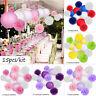 15Pcs Paper Lantern Honeycomb Balls Pom Pom Wedding Party Home Hanging Decor