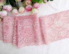 12.5 cm width Exquisite Rose Pink Stretch Lace Trim