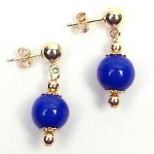 Pure 18k Yellow Gold AAA Quality Blue Egyptian Lapis Acorn Designer Earrings