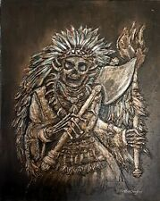 HALLOWEEN Native American Skull Indian Chief Bronze Painting textured 24x30