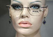 Unworn POOL TITANIUM Silver Chrome Modern Rimless Glasses Frames for Men & Women