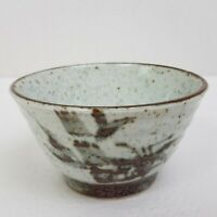 Hand Thrown Pottery Glazed  Graduated Rice Bowl Gray Brown Speckled 12oz*COUNTRY