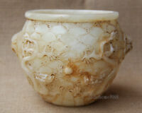 "6"" Old White Jade Hand carved double lion dragon play bead wash brush pot jar"