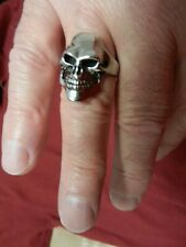 Stainless Steel Size !0 Men's Skull Biker Ring Polished