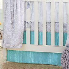 Wendy Bellissimo Mix & Match Dotted Stripe Crib Skirt in Teal