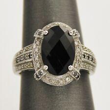 ESTATE Jewelry 14 KT WHITE GOLD ONYX & DIAMOND COCKTAIL RING SIZE 6  - 4.4 grams