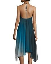 NEW HALSTON HERITAGE HALTER NECK ASYMMETRIC CASUAL COCKTAIL DRESS, BLUE, SZ 2