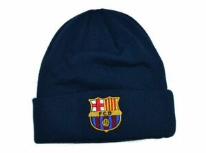 Barcelona FC Knitted Turn Up Hat With Official Logo