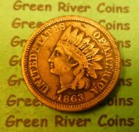 1863  Indian Head Penny Cent  Coin  #1863cn      Better Grade  (1859 to 1909)