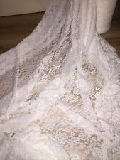 "1 MTR IVORY COTTON THREAD LYCRA STRETCH LACE FABRIC.. 65"" WIDE  £5.99"