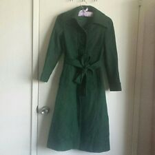 Pine Green Vintage Antique Full Length Wool Slim Fit Long Trench Jacket Coat XS